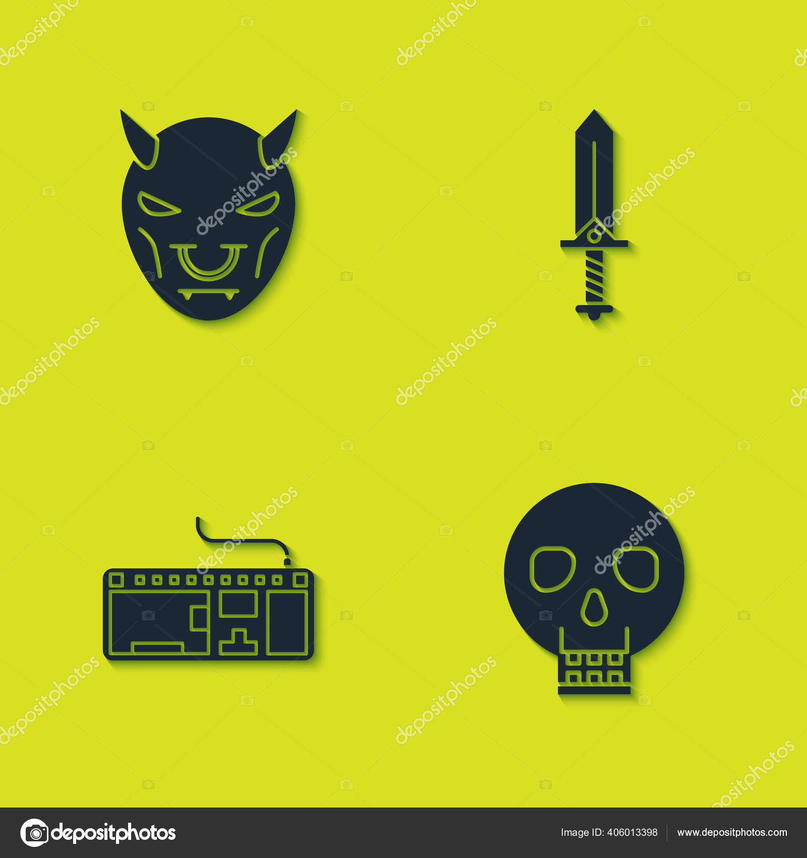 Set Mask Devil Horns Skull Computer Keyboard Sword Game Icon Stok Vektor C Vectorvalera Gmail Com 406013398