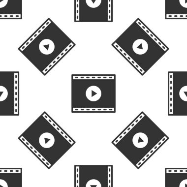 Grey Online play video icon isolated seamless pattern on white background. Film strip with play sign.  Vector.