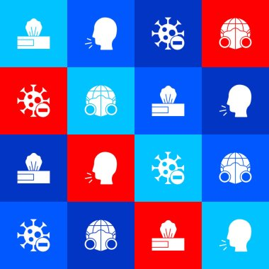 Set Wet wipe pack, Man coughing, Negative virus and Earth with medical mask icon. Vector. icon