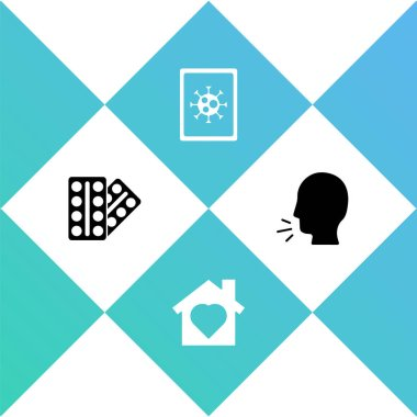 Set Pills in blister pack, House with heart inside, Virus statistics on monitor and Man coughing icon. Vector. icon