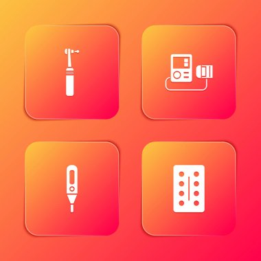 Set Tooth drill, Blood pressure, Medical digital thermometer and Pills in blister pack icon. Vector. icon