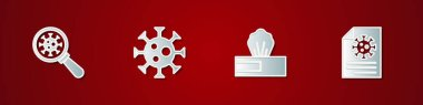 Set Virus under magnifying glass, , Wet wipe pack and Clipboard with blood test results icon. Vector. icon