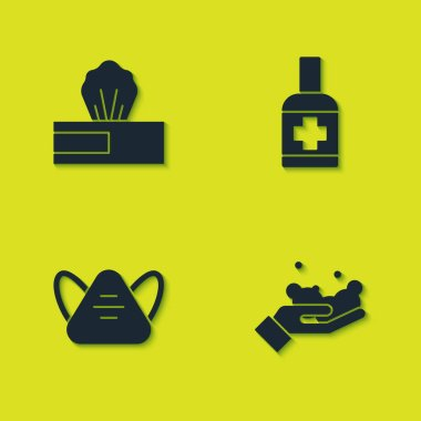 Set Wet wipe pack, Washing hands with soap, Medical protective mask and Liquid antibacterial icon. Vector. icon