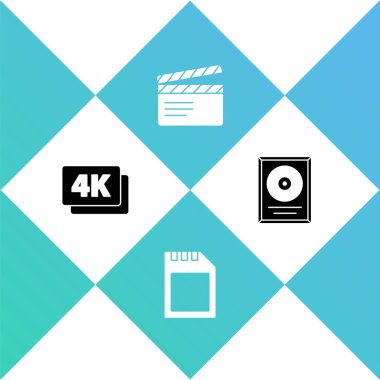 Set 4k Ultra HD, SD card, Movie clapper and CD disk award in frame icon. Vector.