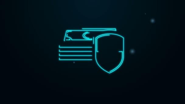 Leuchtende Leuchtschrift Geldschutz-Symbol isoliert auf schwarzem Hintergrund. Finanzielle Sicherheit, Kontoschutz, sichere Geldtransaktionen. 4K Video Motion Grafik Animation