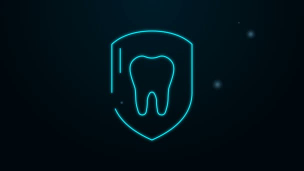 Glowing neon line Dental protection icon isolated on black background. Tooth on shield logo icon. 4K Video motion graphic animation