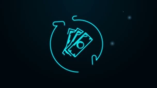 Leuchtende Leuchtschrift auf schwarzem Hintergrund. Finanzdienstleistungen, Cash-Back-Konzept, Geldrückerstattung, Kapitalrendite, Sparkonto. 4K Video Motion Grafik Animation