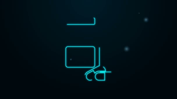 Leuchtende Neon-Linie Medizin Flasche und Pillen Symbol isoliert auf schwarzem Hintergrund. Flaschentablettenschild. Apothekendesign. 4K Video Motion Grafik Animation