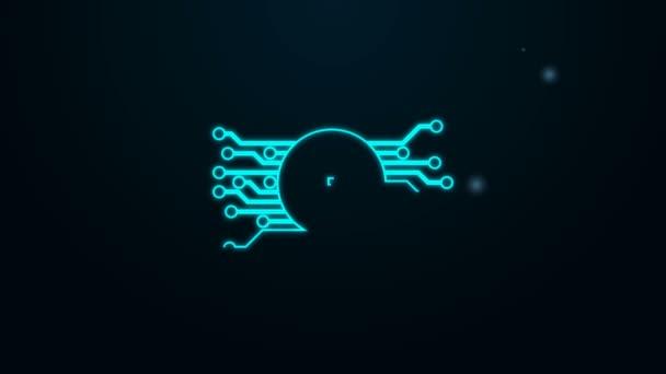 Leuchtendes Neon Line VPN im Kreis mit Mikrochip-Schaltungssymbol isoliert auf schwarzem Hintergrund. 4K Video Motion Grafik Animation