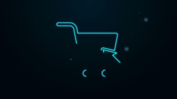 Zářící neonová čára Nákupní vozík s ikonou kurzoru izolované na černém pozadí. Online nákupní koncept. Podpis doručovací služby. Symbol supermarketu. Grafická animace pohybu videa 4K