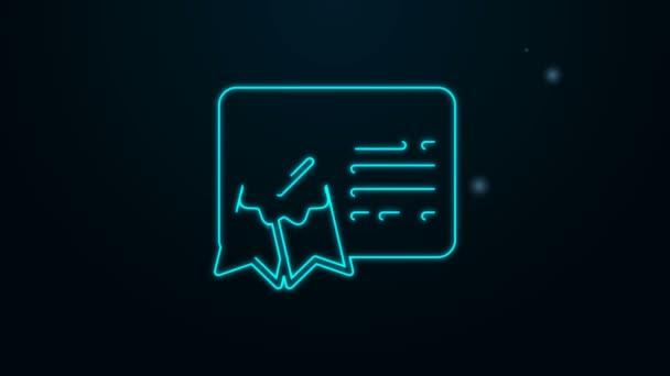 Ragyogó neon vonal Tanúsítvány sablon vonal ikon elszigetelt fekete háttér. Teljesítmény, díj, diploma, ösztöndíj, diploma. Üzleti siker tanúsítvány. 4K Videó mozgás grafikus animáció