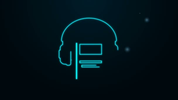 Glowing neon line Audio book icon isolated on black background. Book with headphones. Audio guide sign. Online learning concept. 4K Video motion graphic animation