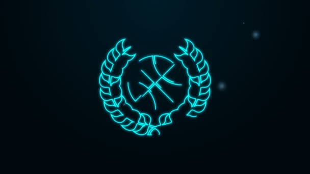 Glowing neon line Award with basketball ball icon isolated on black background. Laurel wreath. Winner trophy. Championship or competition trophy. 4K Video motion graphic animation