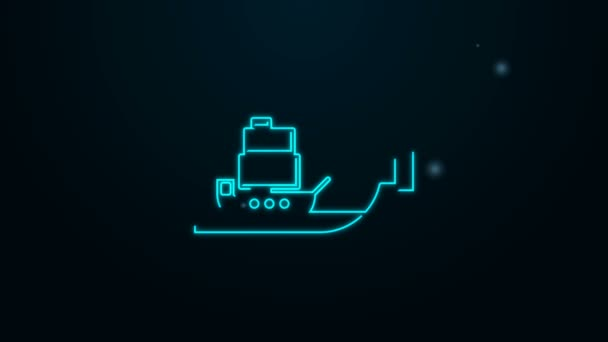 Glowing neon line Glass bottle with ship inside icon isolated on black background. Miniature model of marine vessel. Hobby and sea theme. 4K Video motion graphic animation