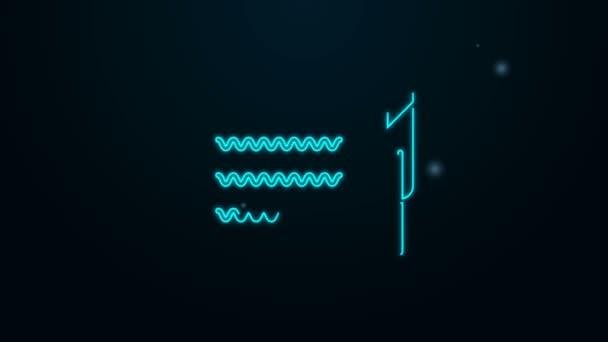 Zářící neonová čára Pero a papírový svitek ikona izolované na černém pozadí. Grafická animace pohybu videa 4K