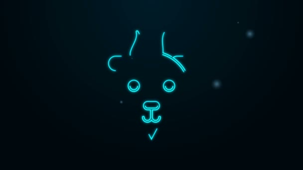 Glowing neon line Aries zodiac sign icon isolated on black background. Astrological horoscope collection. 4K Video motion graphic animation