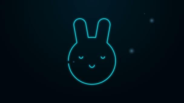 Leuchtende Leuchtschrift Rabbit Sternzeichen Symbol isoliert auf schwarzem Hintergrund. Astrologische Horoskopsammlung. 4K Video Motion Grafik Animation
