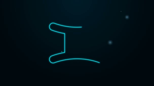 Glowing neon line Gemini zodiac sign icon isolated on black background. Astrological horoscope collection. 4K Video motion graphic animation