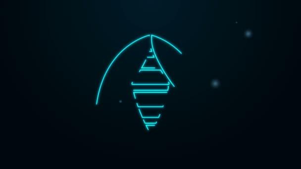 Leuchtende Leuchtschrift Biene Symbol isoliert auf schwarzem Hintergrund. Süße natürliche Nahrung. Honigbiene oder Apis mit Flügeln Symbol. Fliegendes Insekt. 4K Video Motion Grafik Animation