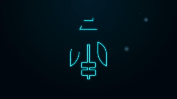 Leuchtende Leuchtschrift Fisherman Symbol isoliert auf schwarzem Hintergrund. 4K Video Motion Grafik Animation