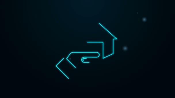 Leuchtendes Neon Line Realtor Symbol isoliert auf schwarzem Hintergrund. Hauskauf. 4K Video Motion Grafik Animation