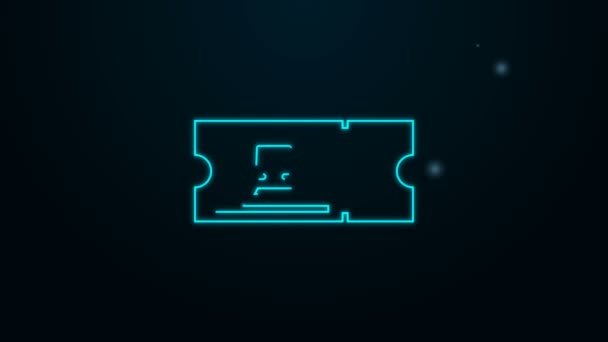 Ragyogó neon vonal Vonat jegy ikon elszigetelt fekete háttérrel. Utazz vonattal. 4K Videó mozgás grafikus animáció