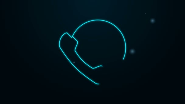 Glowing neon line Online dental care icon isolated on black background. Dental service information call center. 4K Video motion graphic animation