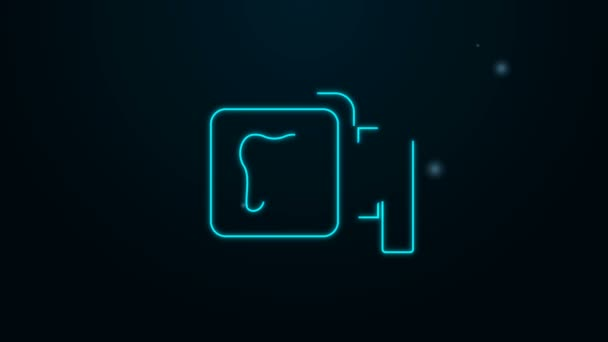 Glowing neon line Dental clinic location icon isolated on black background. 4K Video motion graphic animation
