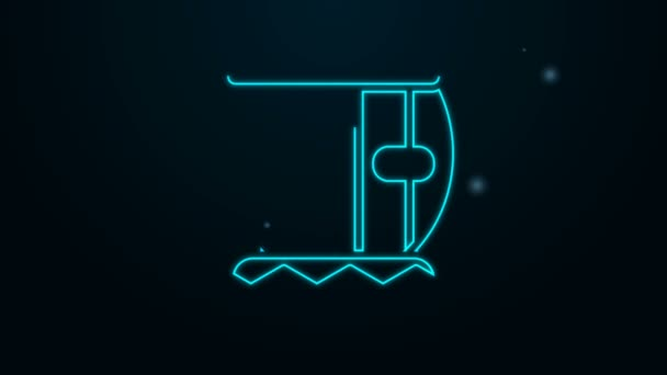 Glowing neon line Indian musical instrument tabla icon isolated on black background. 4K Video motion graphic animation