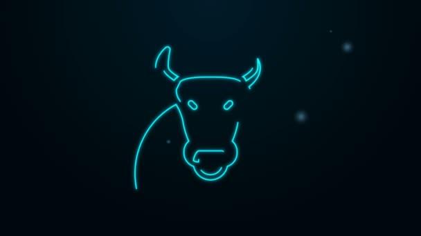 Leuchtende Leuchtschrift Bull Symbol isoliert auf schwarzem Hintergrund. Spanischer Kampfstier. 4K Video Motion Grafik Animation