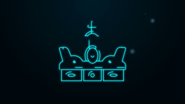 Glowing neon line Crown of spain icon isolated on black background. 4K Video motion graphic animation