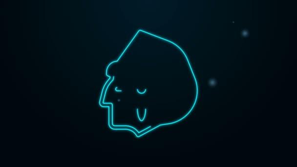 Leuchtende Leuchtschrift Indianer-Ikone isoliert auf schwarzem Hintergrund. 4K Video Motion Grafik Animation