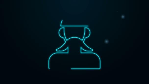 Leuchtende Leuchtschrift ukrainische Kosaken-Ikone isoliert auf schwarzem Hintergrund. 4K Video Motion Grafik Animation