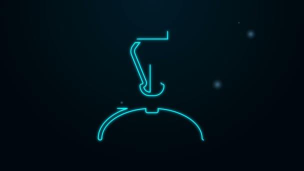Leuchtende Neon-Linie Füllfederhalter-Symbol isoliert auf schwarzem Hintergrund. Stift-Werkzeug-Zeichen. 4K Video Motion Grafik Animation