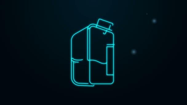Zářící neonová čára Tiskárna inkoust láhev ikona izolované na černém pozadí. Grafická animace pohybu videa 4K