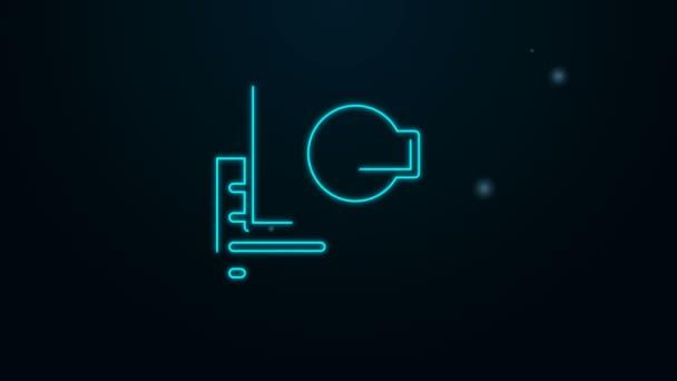 Ragyogó neon vonal Látogatókártya, névjegykártya ikon elszigetelt fekete alapon. Vállalati azonosító sablon. 4K Videó mozgás grafikus animáció