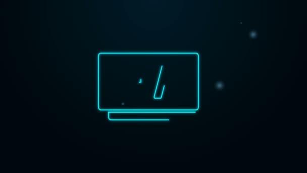 Ragyogó neon vonal Óra 24 órás ikon elszigetelt fekete háttér. Egész nap ciklikus ikon. 24 órás szolgálati szimbólum. 4K Videó mozgás grafikus animáció
