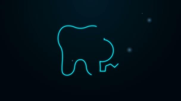 Leuchtende Neon-Linie Zahnbehandlung Symbol isoliert auf schwarzem Hintergrund. Zahnreparatur mit Zahnrädern. 4K Video Motion Grafik Animation