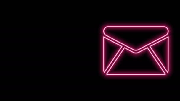 Zářící neonová čára Ikona obálky izolovaná na černém pozadí. Symbol dopisu e-mailem. Grafická animace pohybu videa 4K