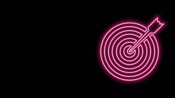 Ragyogó neon vonal Célpont a nyíl ikon elszigetelt fekete háttér. Dárdajel. Íjászati tábla ikon. Dartboard jel. Üzleti cél koncepció. 4K Videó mozgás grafikus animáció