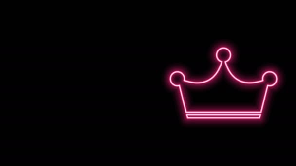 Glowing neon line Crown icon isolated on black background. 4K Video motion graphic animation