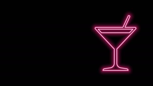 Leuchtende Leuchtschrift Martini-Glas-Ikone isoliert auf schwarzem Hintergrund. Cocktail-Symbol. Weinglas-Ikone. 4K Video Motion Grafik Animation