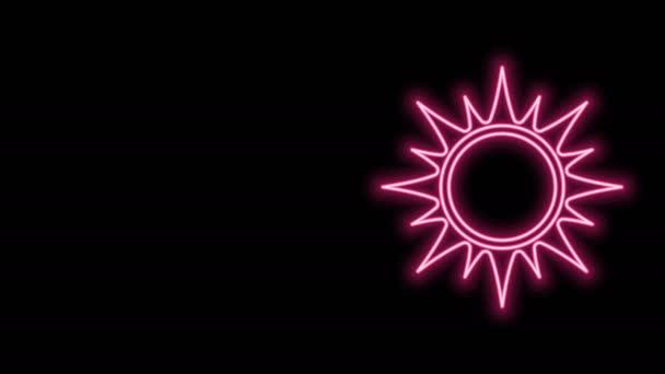 Leuchtende Leuchtschrift Sonnensymbol isoliert auf schwarzem Hintergrund. 4K Video Motion Grafik Animation