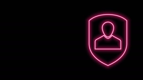 Glowing neon line User protection icon isolated on black background. Secure user login, password protected, personal data protection, authentication. 4K Video motion graphic animation