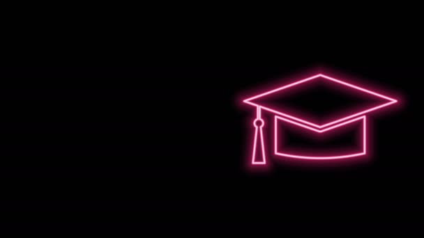 Glowing neon line Graduation cap icon isolated on black background. Graduation hat with tassel icon. 4K Video motion graphic animation