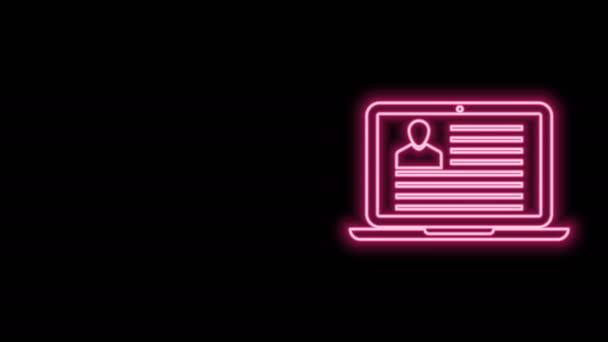 Leuchtende Leuchtschrift Laptop mit Lebenslauf-Symbol isoliert auf schwarzem Hintergrund. Lebenslauf-Bewerbung. Suche nach professionellem Personal. Die Personalanalysen laufen weiter. 4K Video Motion Grafik Animation