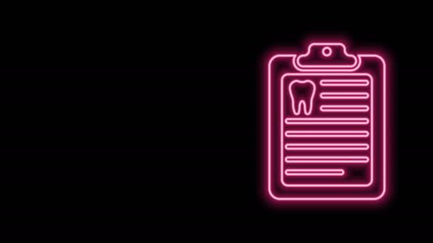 Leuchtendes neonfarbenes Klemmbrett mit Zahnarztkarte oder Patientenakte, isoliert auf schwarzem Hintergrund. Zahnzusatzversicherungen. Zahnklinikbericht. 4K Video Motion Grafik Animation
