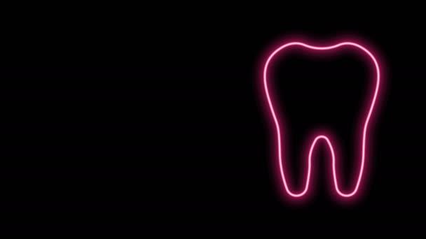 Leuchtende Neon-Linie Zahnsymbol isoliert auf schwarzem Hintergrund. Zahnsymbol für Zahnklinik oder Zahnarztpraxis und Zahnpasta-Packung. 4K Video Motion Grafik Animation