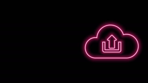 Leuchtendes Neon Line Cloud Upload Icon isoliert auf schwarzem Hintergrund. 4K Video Motion Grafik Animation