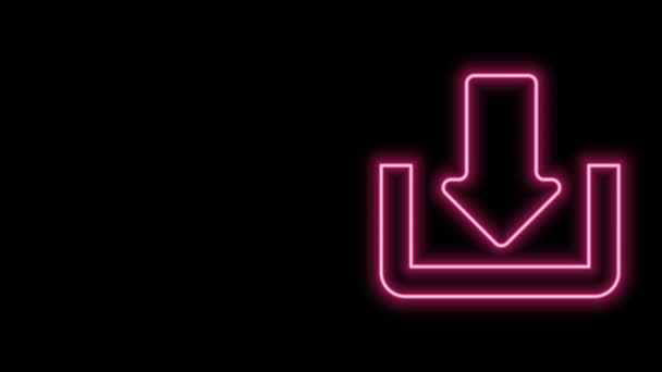 Glowing neon line Download icon isolated on black background. Upload button. Load symbol. Arrow point to down. 4K Video motion graphic animation